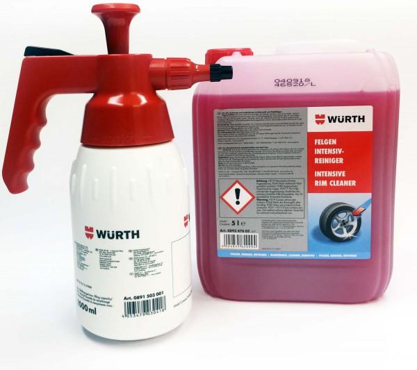 1 Kanister Würth Felgenreiniger Premium Reiniger 5 Liter + Pumpsprühflasche 1 L